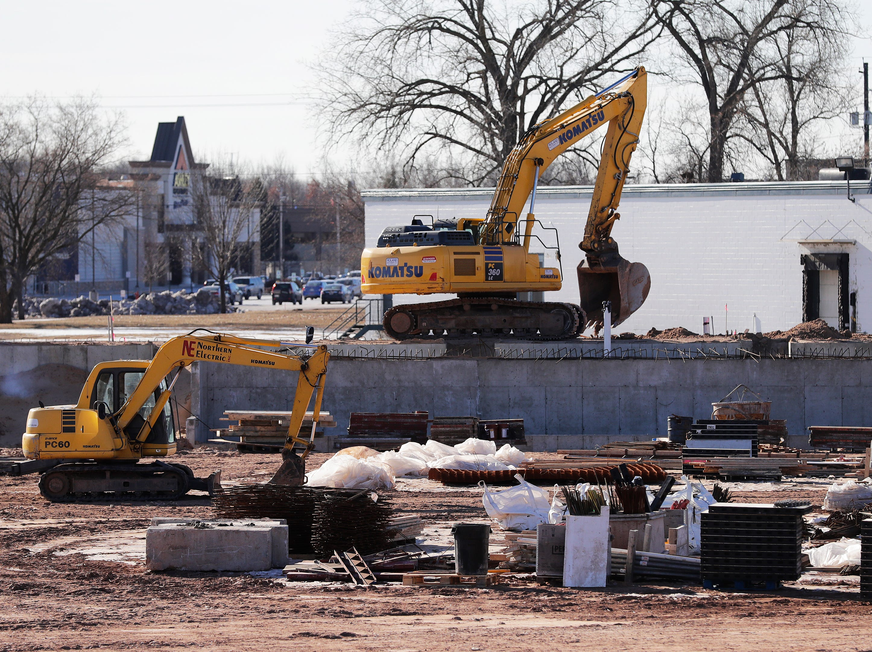 Construction behind the visiting dugout at Capital Credit Union Park is ongoing on Wednesday, January 16, 2019 in Ashwaubenon, Wis. The stadium is set to open this spring and will host the Green Bay Booyah baseball team in the Northwoods League and a United Soccer Leagues League 2 team.