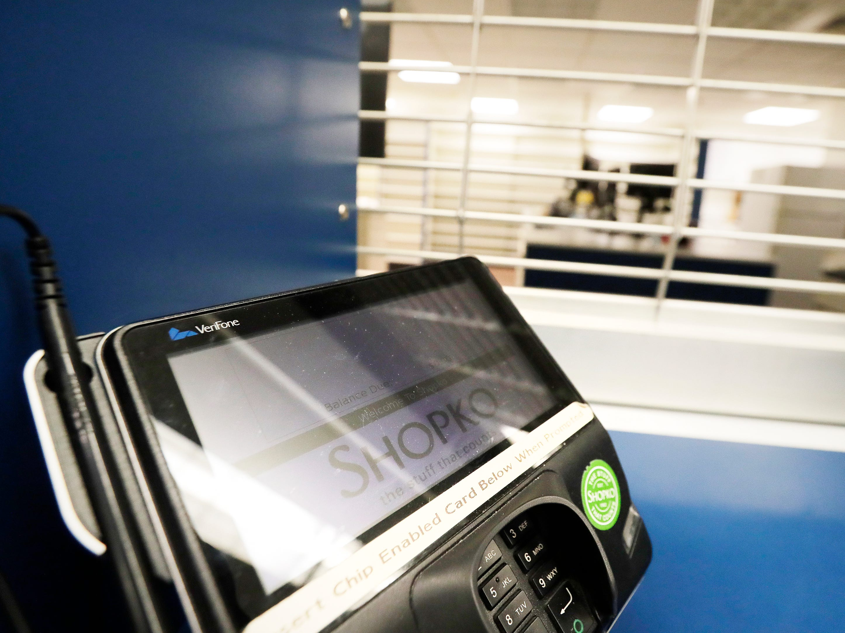 A credit card machine is shown at the closed pharmacy in the original Shopko store on Wednesday, January 16, 2019 in Green Bay, Wis. Shopko filed for chapter 11 bankruptcy on Wednesday and announced it will close 105 stores, including the company's original store on Military Ave in Green Bay.