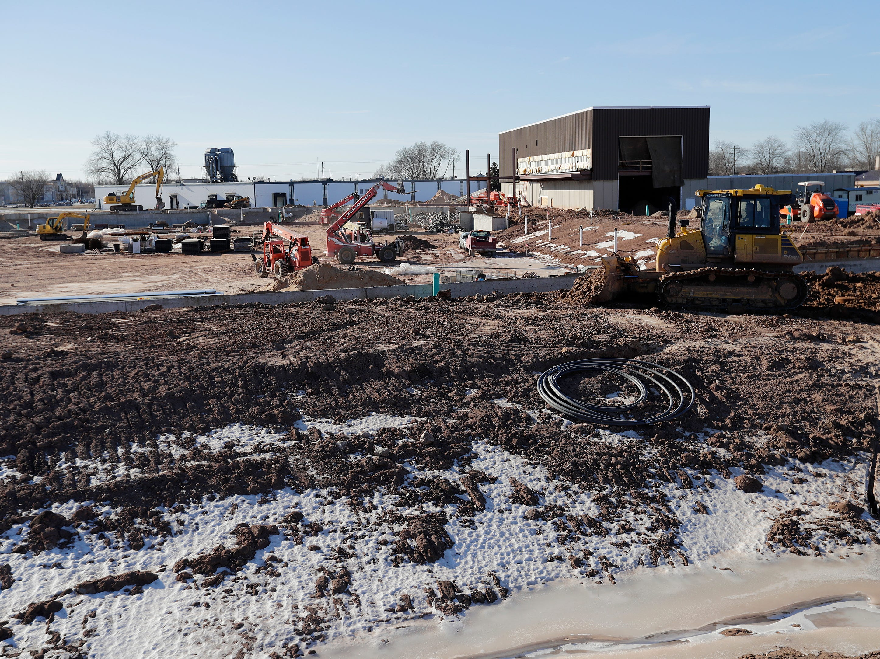 Construction for Capital Credit Union Park is shown from beyond the left field wall on Wednesday, January 16, 2019 in Ashwaubenon, Wis. The stadium is set to open this spring and will host the Green Bay Booyah baseball team in the Northwoods League and a United Soccer Leagues League 2 team.
