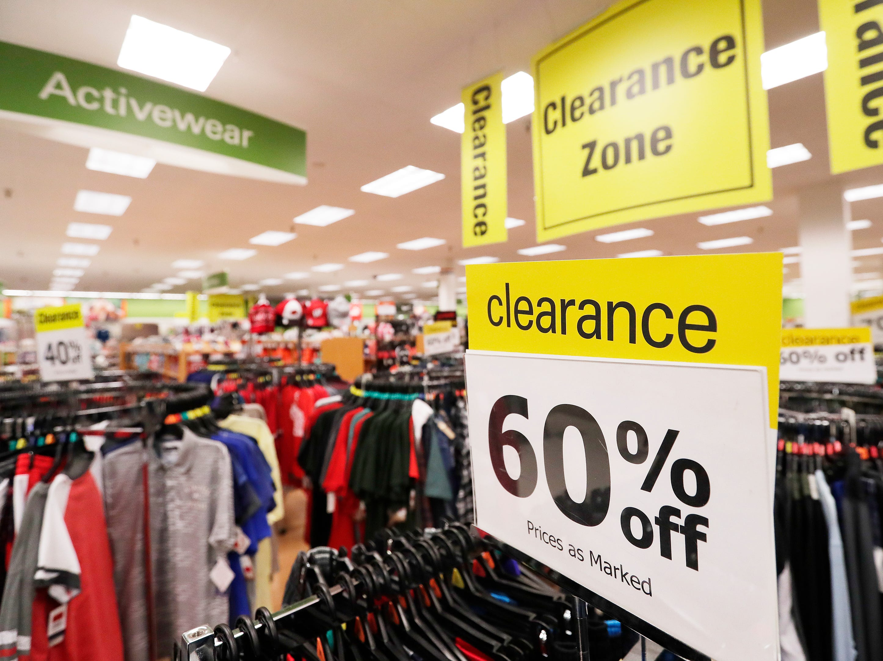 Sale signs are shown at the original Shopko store on Wednesday, January 16, 2019 in Green Bay, Wis. Shopko filed for chapter 11 bankruptcy on Wednesday and announced it will close 105 stores, including the company's original store on Military Ave in Green Bay.
