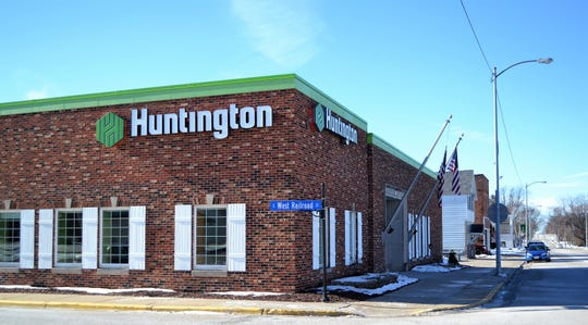 The exterior of the Huntington National Bank branch in Lena on Jan. 16. The Lena, Suring and Townsend branches of the bank are expected to close after they and 29 other offices in Wisconsin after their sale to Associated Banc-Corp is completed this year.
