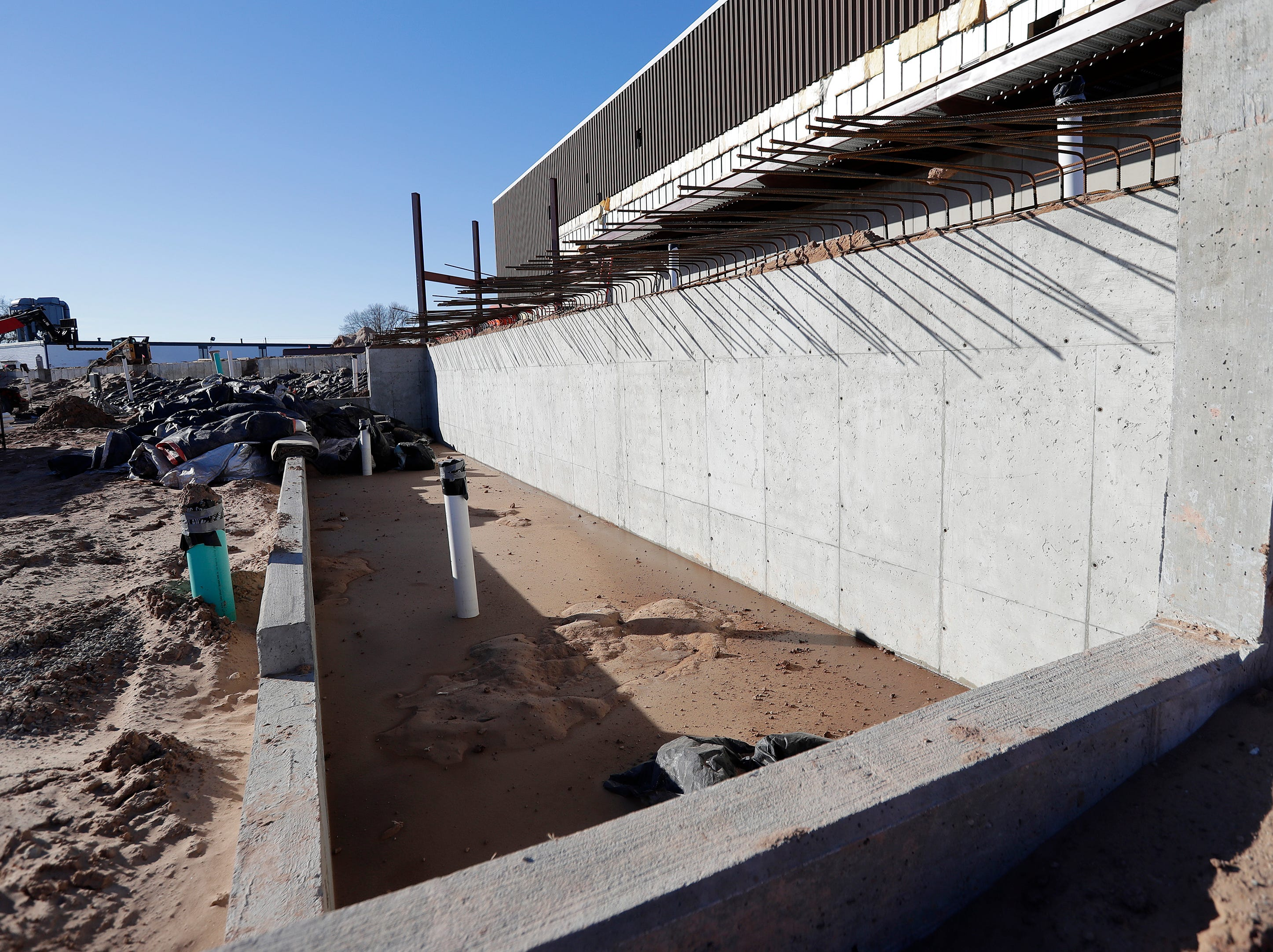 The home dugout at Capital Credit Union Park is shown under construction on Wednesday, January 16, 2019 in Ashwaubenon, Wis. The stadium is set to open this spring and will host the Green Bay Booyah baseball team in the Northwoods League and a United Soccer Leagues League 2 team.