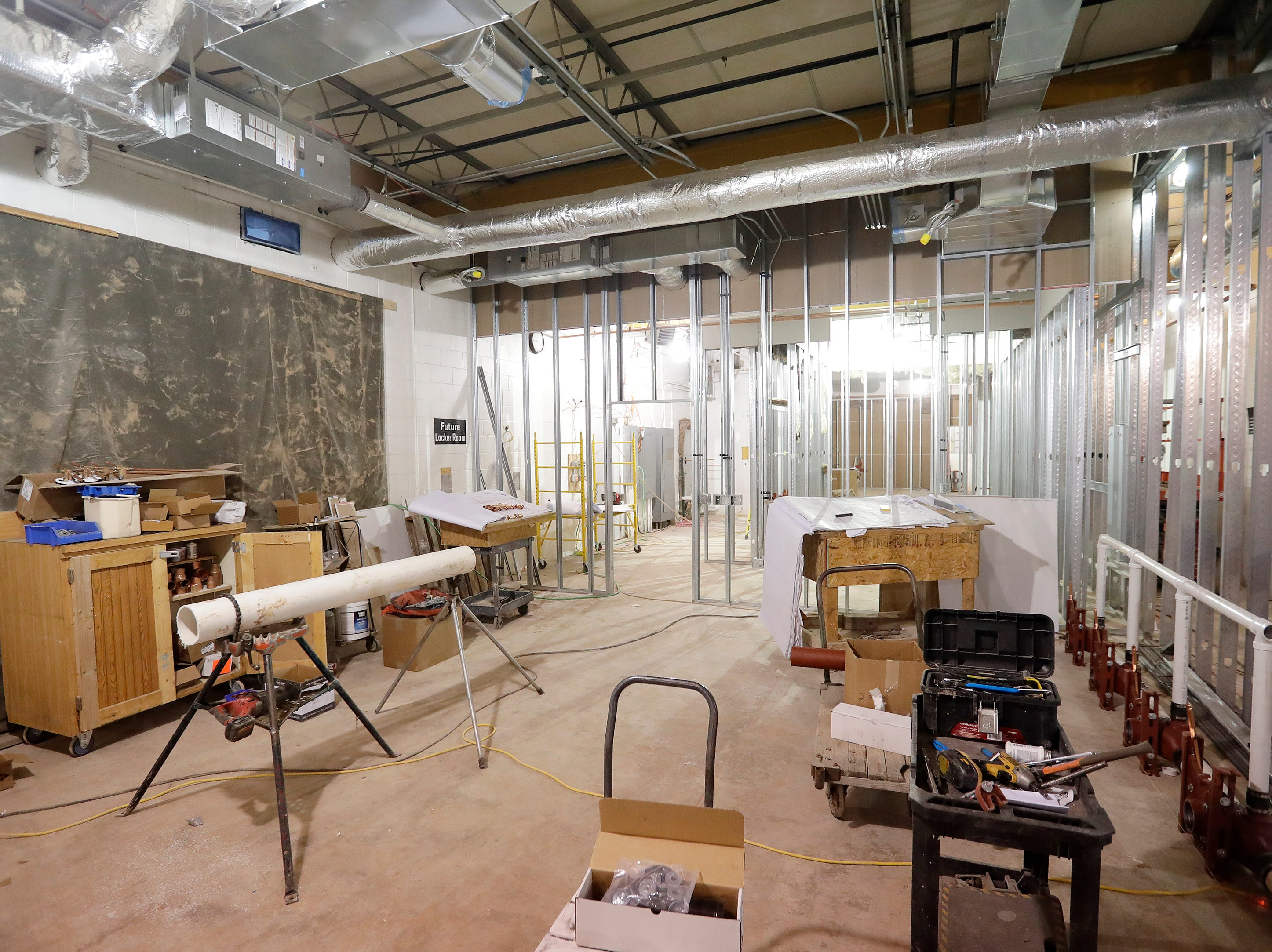 Construction for the locker rooms at Capital Credit Union Park is shown on Wednesday, January 16, 2019 in Ashwaubenon, Wis. The stadium is set to open this spring and will host the Green Bay Booyah baseball team in the Northwoods League and a United Soccer Leagues League 2 team.