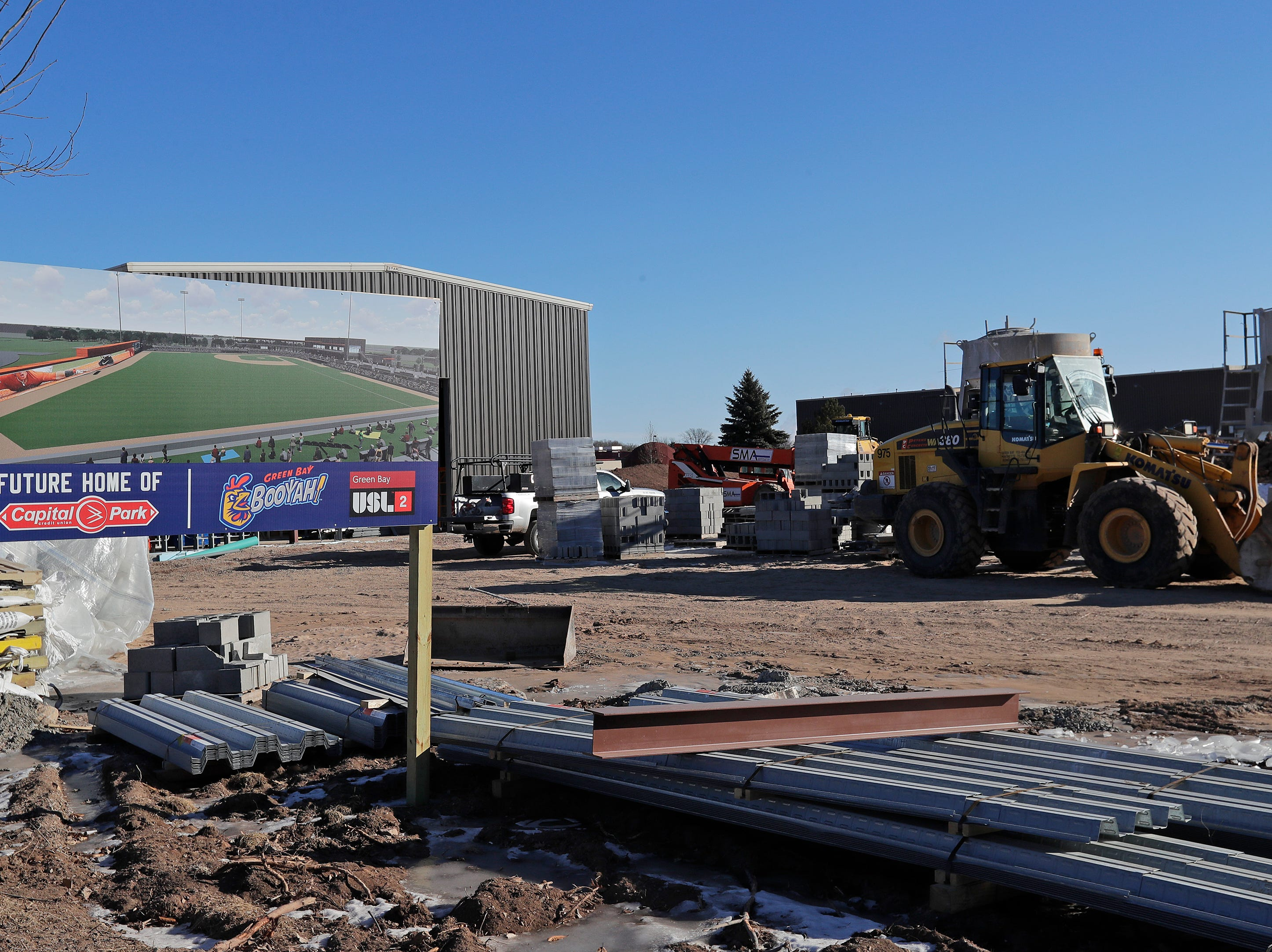 Construction for Capital Credit Union Park is ongoing on Wednesday, January 16, 2019 in Ashwaubenon, Wis. The stadium is set to open this spring and will host the Green Bay Booyah baseball team in the Northwoods League and a United Soccer Leagues League 2 team.