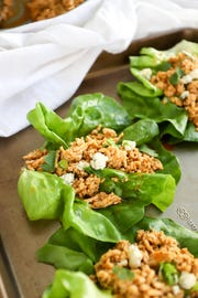 Chicken spiced with ranch AND buffalo flavors, with butter and cheese for good measure but served in lettuce wraps for the purpose of avoiding some unnecessary carbs. The lettuce is downright refreshing with the flavorful chicken, and I like to serve the components individually on a large platter so everyone can build lettuce wraps exactly as they'd like.