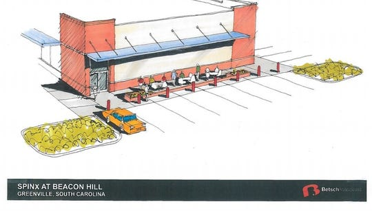 A Jan. 16, 2019, rendering of the back side of a new Spinx station as part of the proposed Beacon Hill mixed-use development at Haywood and Pelham roads.