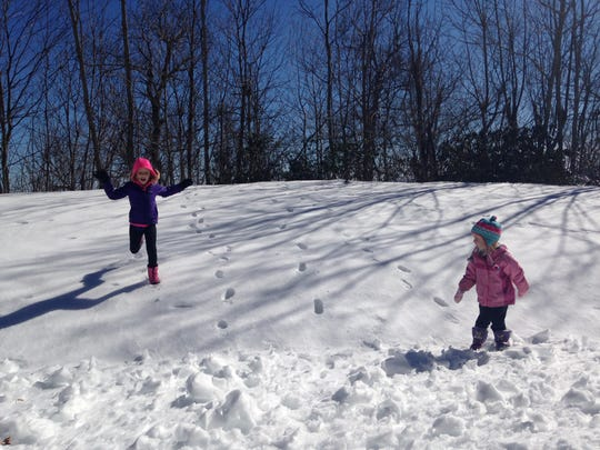 Playing in snow on the Blue Ridge Parkway, 2017.