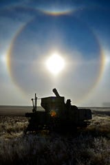 Ice crystals and a sun halo form in the fog over field near Giant Springs State Park Wednesday. Between 1 to 3 inches of snow is expected in the Great Falls area Thursday and Friday.