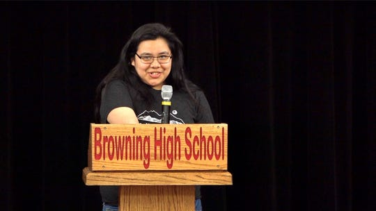 Peyote Mesteth-Campos is part of the Rising Voices club is helping students learn to express themselves through the written, and sometimes performed and filmed, word.