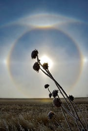 Sun halo forms in the fog near Giant Springs State Park on Wednesday.