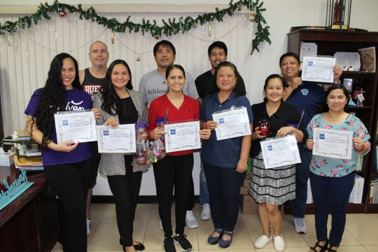 "Congratulations to St. Paul Christian School's teachers who were voted as favorites by their students through Sylvan Learning Center's ""My Favorite Teacher."" St. Paul Christian School came in second place with the most student votes. Sylvan's Director Crystal Nelson, presented each teacher with a certificate on December 14, 2018. Front row from left: Deborah Pineda, Hope Egrubay, Marlene Galino, Evangeline Acda, Richelle San Agustin. Back row from left: Mr. Schaefer, Fernando Bergantin, Nathaniel Pineda, and Richard Guerrero."