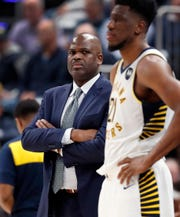 Indiana Pacers head coach Nate McMillan looks on in the second half of their game at Bankers Life Fieldhouse on Tuesday, Jan. 15, 2019.