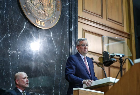 Gov. Eric Holcomb delivers the annual State of the State address to the Indiana General Assembly at the Indiana Statehouse in Indianapolis, Tuesday, Jan. 15, 2019.