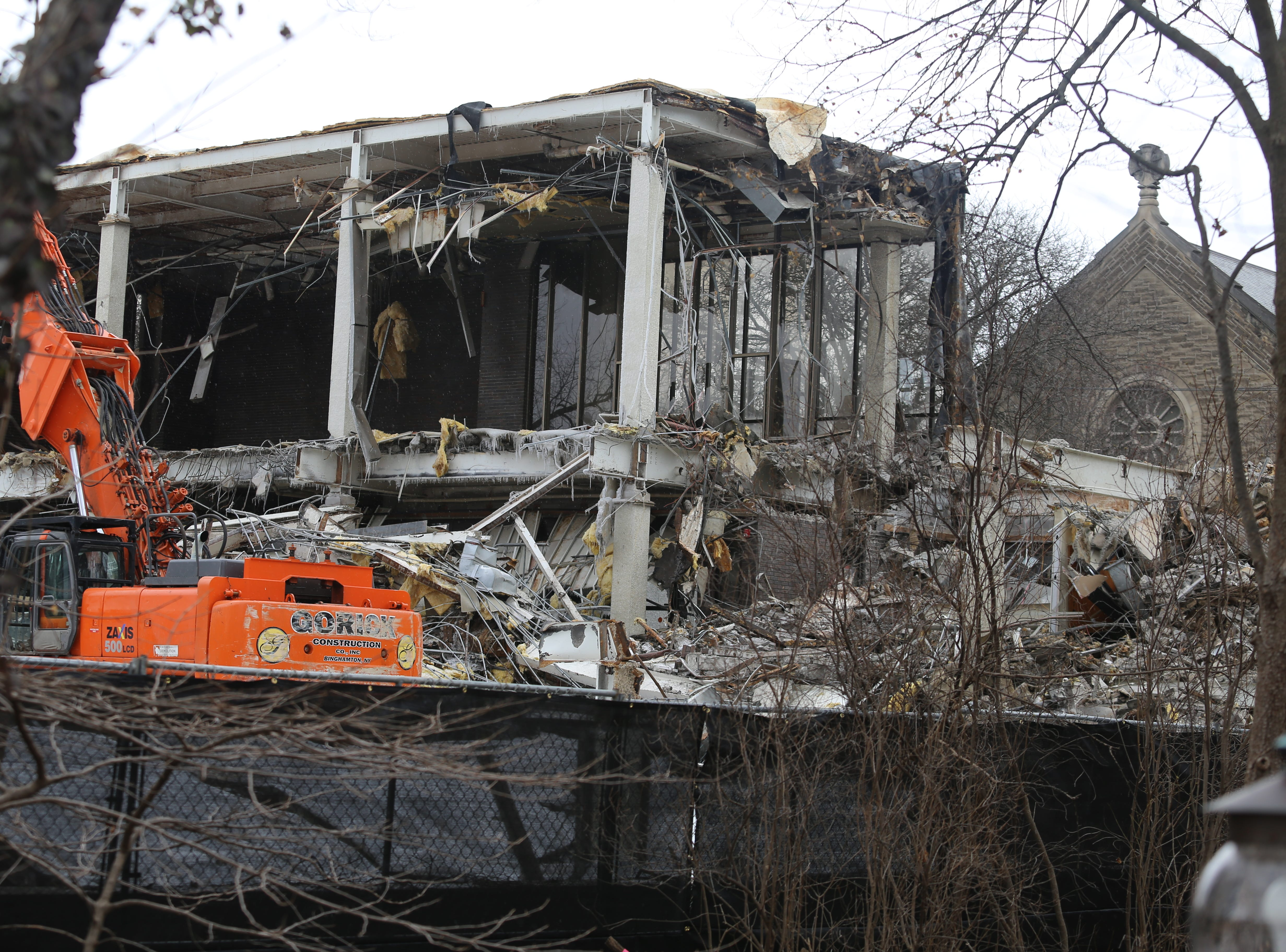 Demolition of the old Tompkins County Public Library started in December.