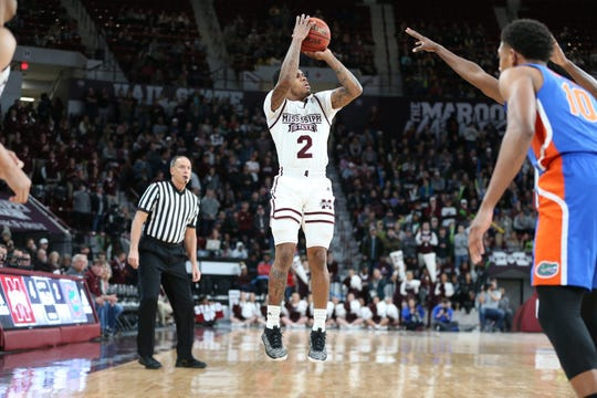 Mississippi State junior point guard Lamar Peters nailed three 3-pointers in a row against Florida in the first half of Tuesday night's SEC basketball game at Humphrey Coliseum.