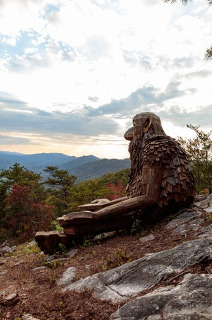 This 'Leo the Enlightened' troll sculpture was created in the Smoky Mountains by Thomas Dambo, of Denmark.