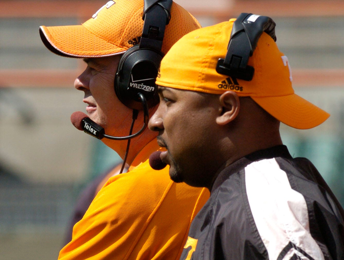 utfootball17.ASB#5461.JPG--SPORTS-- Tennessee football coaches, offensive coordinator, David Cutcliffe, and wide recievers coach, Trooper Taylor at the Orange and White game.
