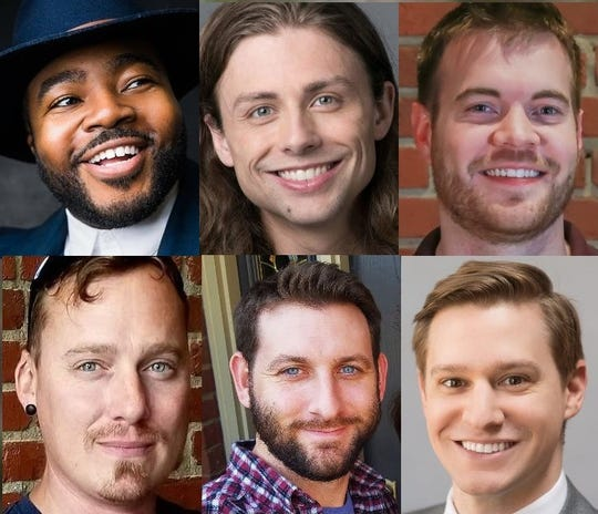 Men up for bids in the 2019 Friends of Literacy Bachelor Auction include, clockwise from top left, Cain McCoy, Jesse Wade, Nick Miles, Kit Frederick, Curtis Glover and Matt Lillie.