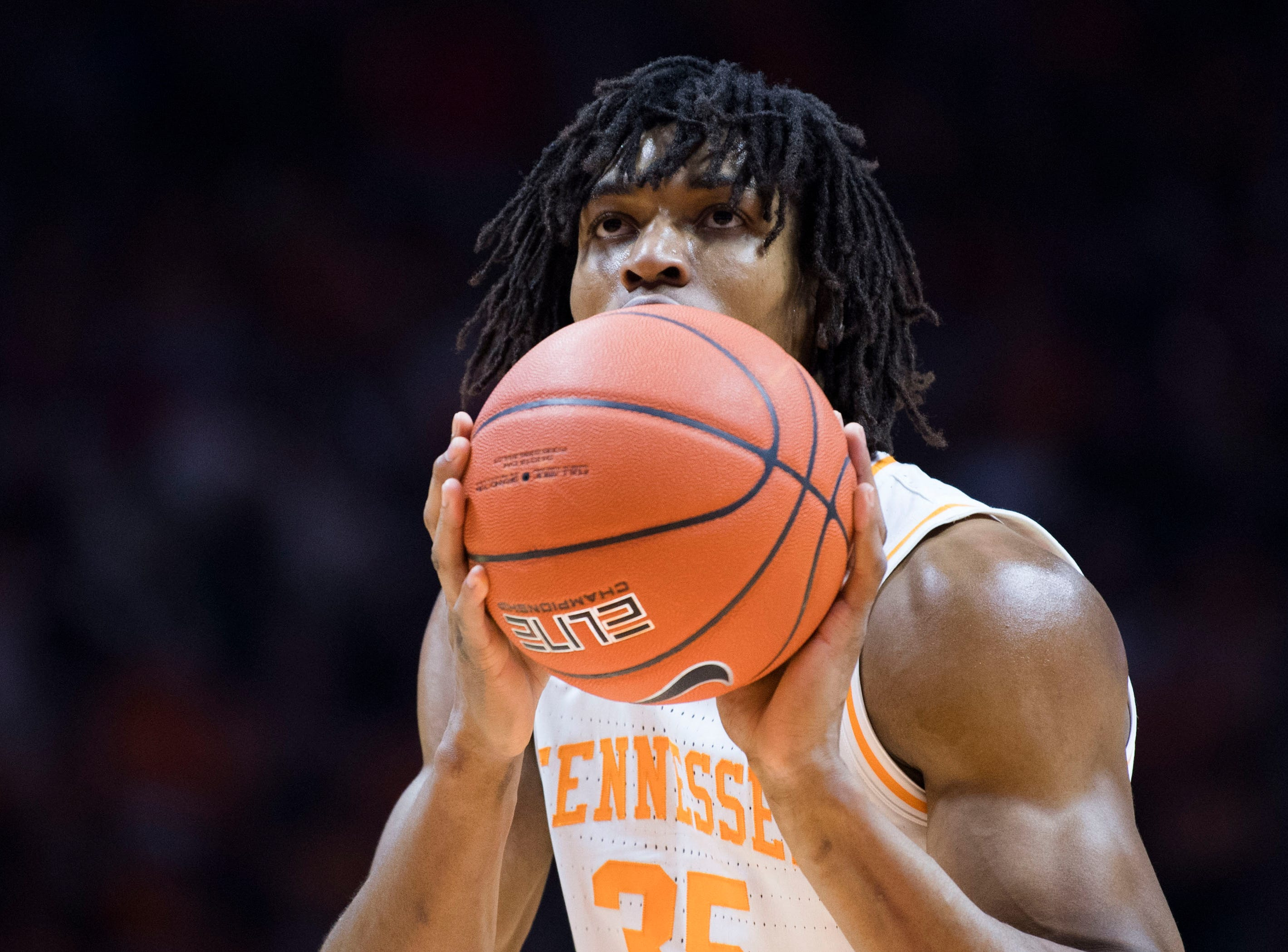 Tennessee guard/forward Yves Pons (35) shoots a free throw during a NCAA men's basketball game between Tennessee and Arkansas at Thompson-Boling Arena Tuesday, Jan. 15, 2019.