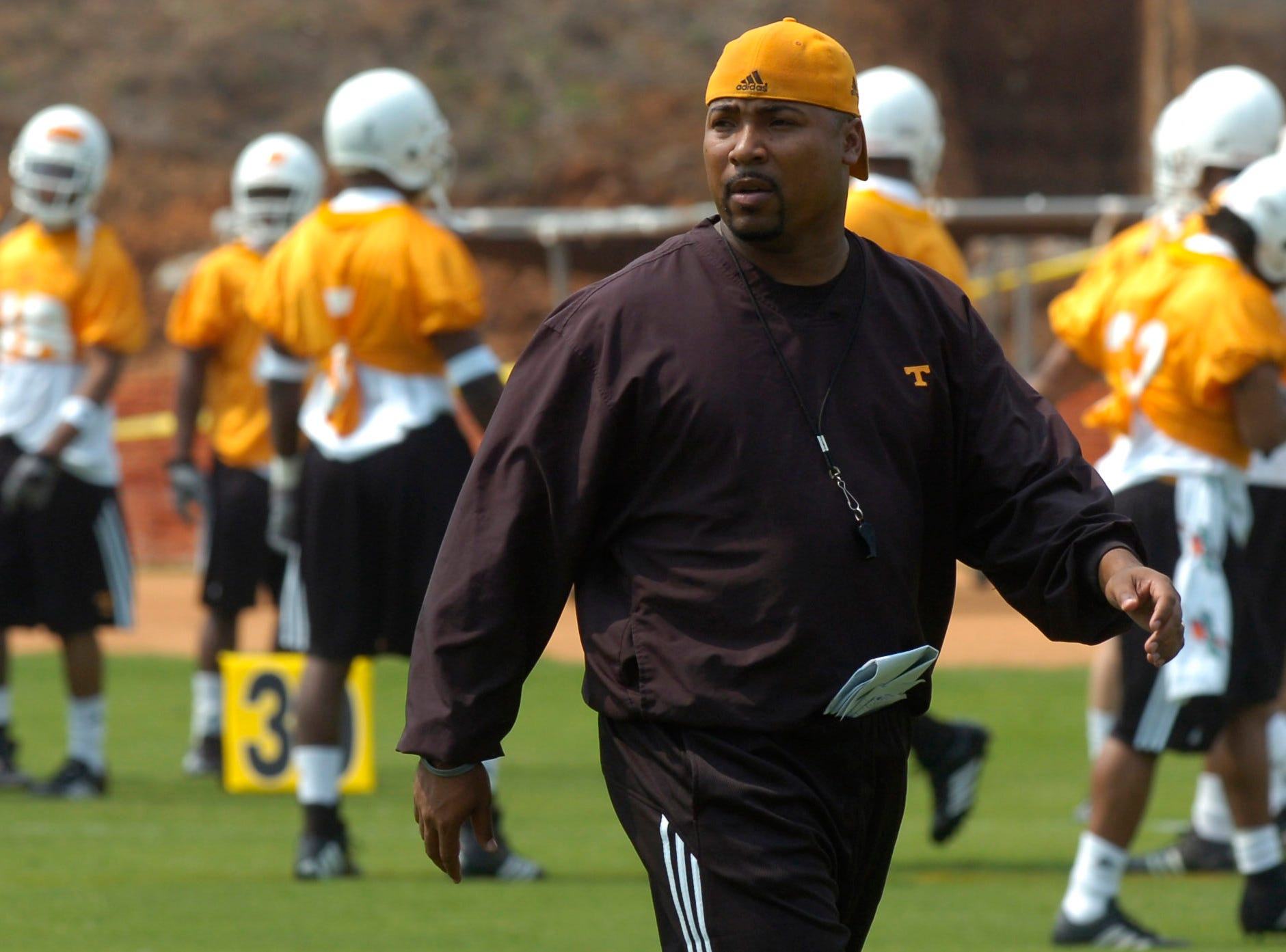 vols.ASB#8197.jpg--SPORTS-- UT wide receivers coach Trooper Taylor during practice earlier this month at Lindsey Nelson Stadium.