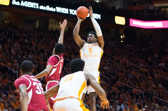 Tennessee's Admiral Schofield (5) takes a shot during a NCAA men's basketball game between Tennessee and Arkansas at Thompson-Boling Arena Tuesday, Jan. 15, 2019. Tennessee defeated Arkansas 106-87.
