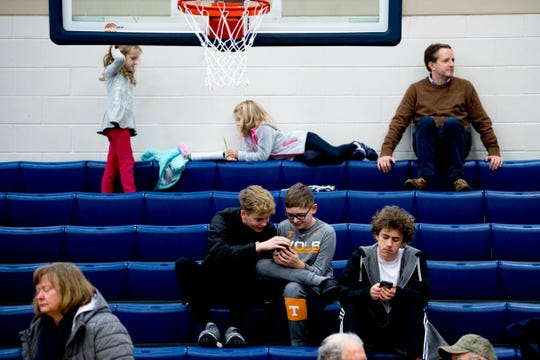 People sit in the stands during a Knoxville-Knox County Planning public meeting at Hardin Valley Academy in West Knoxville, Tennessee on Tuesday, January 15, 2019. Community members were given the opportunity to voice their concerns and opinions about the future development and zoning of the Hardin Valley area.