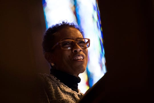 """The Rev. Leah Burns of Second United Methodist Church speaks during the Dr. Martin Luther King Jr. Commemorative Commission's annual interfaith prayer service at Church Street United Methodist Church in downtown Knoxville on Jan. 16, 2019. This year's theme was """"The Courage to Lead with Greater Determination."""""""
