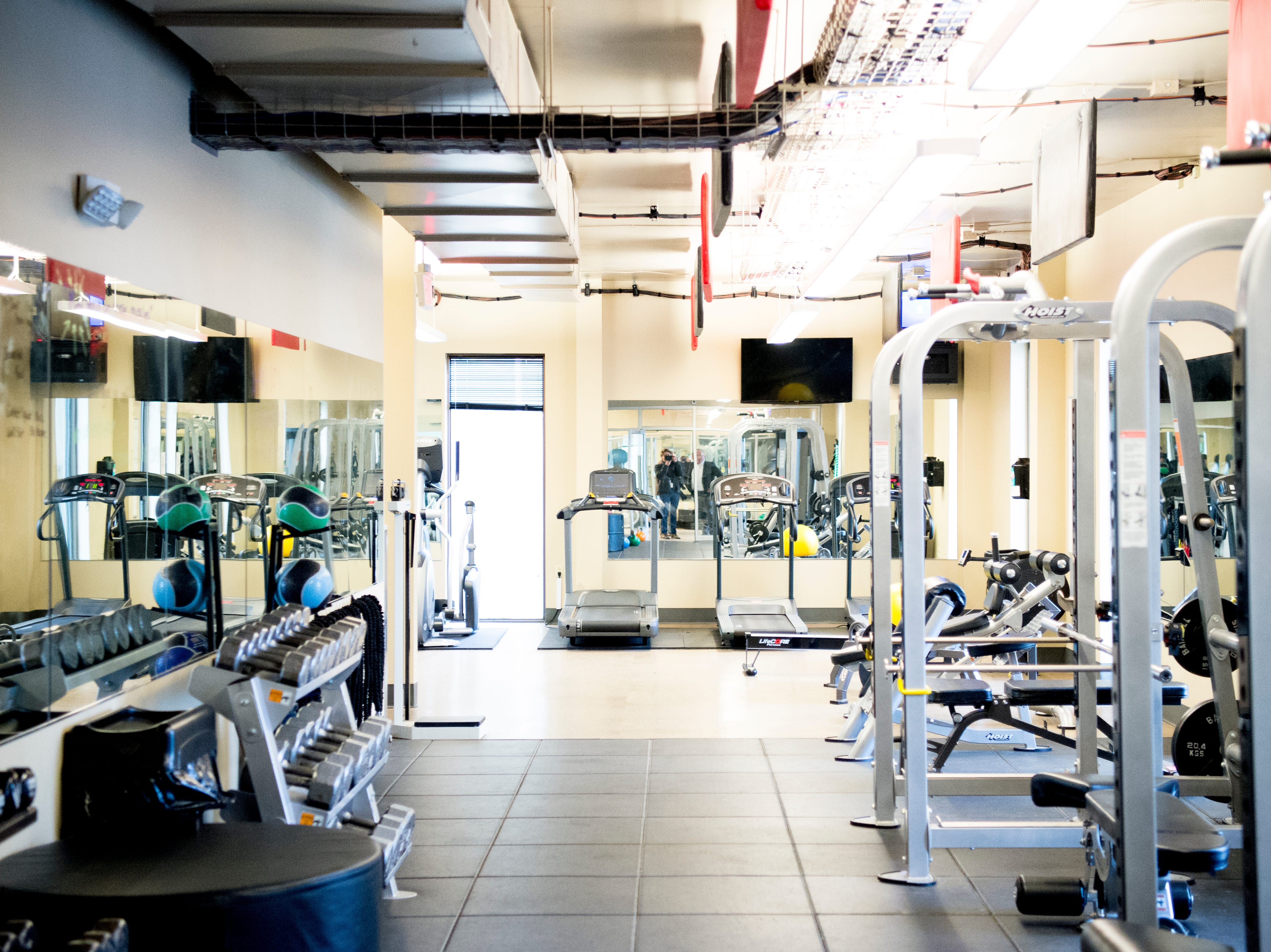 A fully-equipped gym also has classes and a trainer at the Cellular Sales headquarters on 9040 Executive Park Drive in West Knoxville, Tennessee on Wednesday, January 16, 2019. An authorized agent of Verizon Wireless, Cellular Sales specializes in retail and support for over 700 of Verizon stores in 42 states.