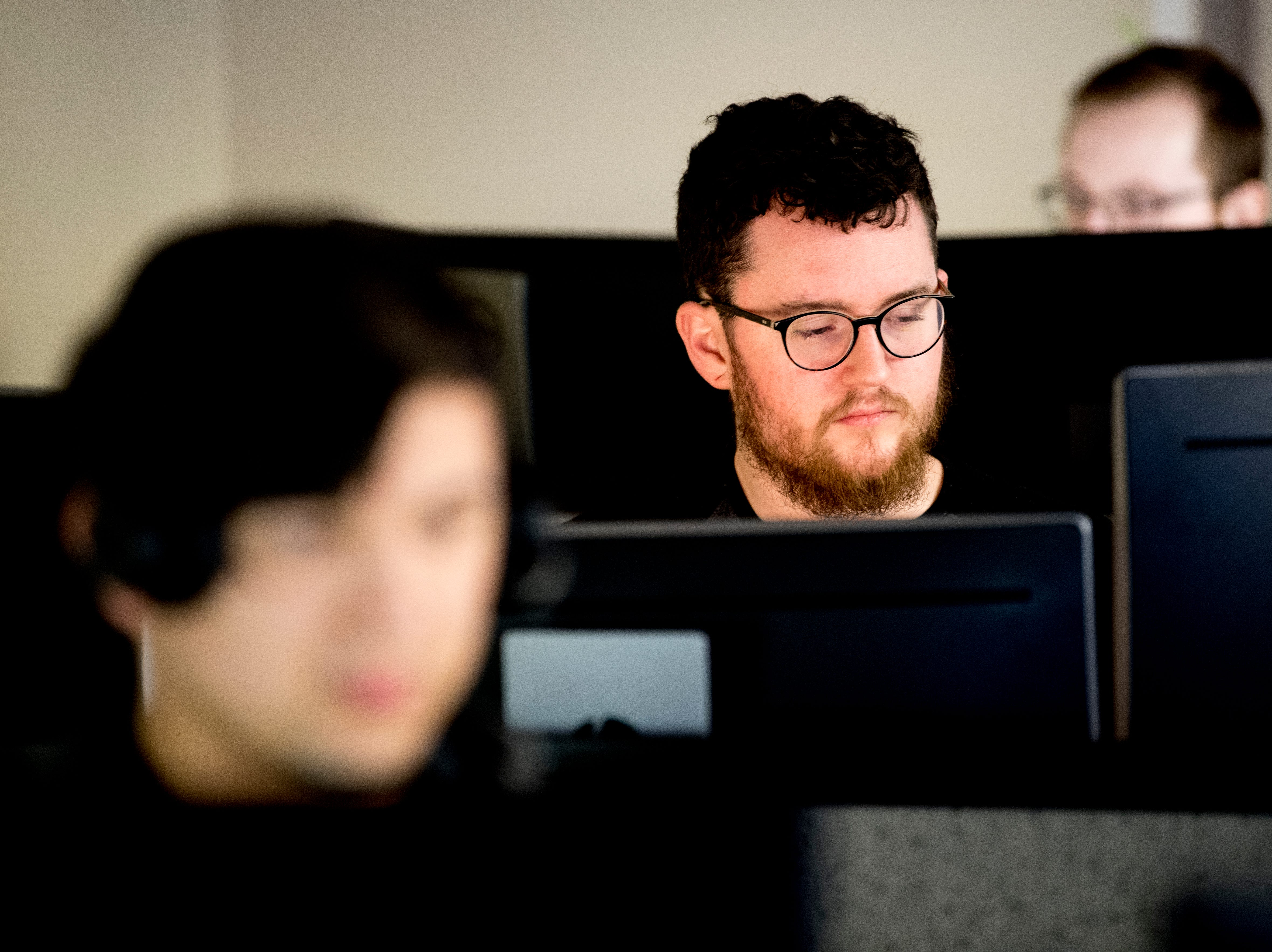 An operations support desk technician works in the control room at the Cellular Sales headquarters on 9040 Executive Park Drive in West Knoxville, Tennessee on Wednesday, January 16, 2019. An authorized agent of Verizon Wireless, Cellular Sales specializes in retail and support for over 700 of Verizon stores in 42 states.
