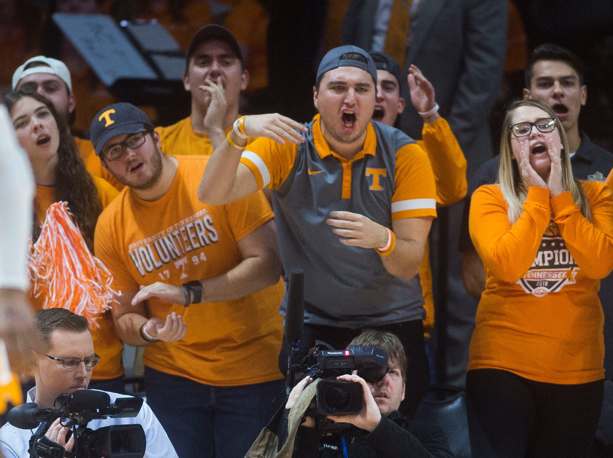Tennessee fans taunt Arkansas during a NCAA men's basketball game between Tennessee and Arkansas at Thompson-Boling Arena Tuesday, Jan. 15, 2019.