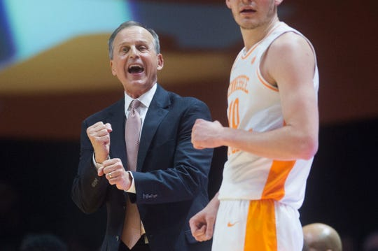Tennessee head coach Rick Barnes yells to the court during a NCAA men's basketball game between Tennessee and Arkansas at Thompson-Boling Arena Tuesday, Jan. 15, 2019.