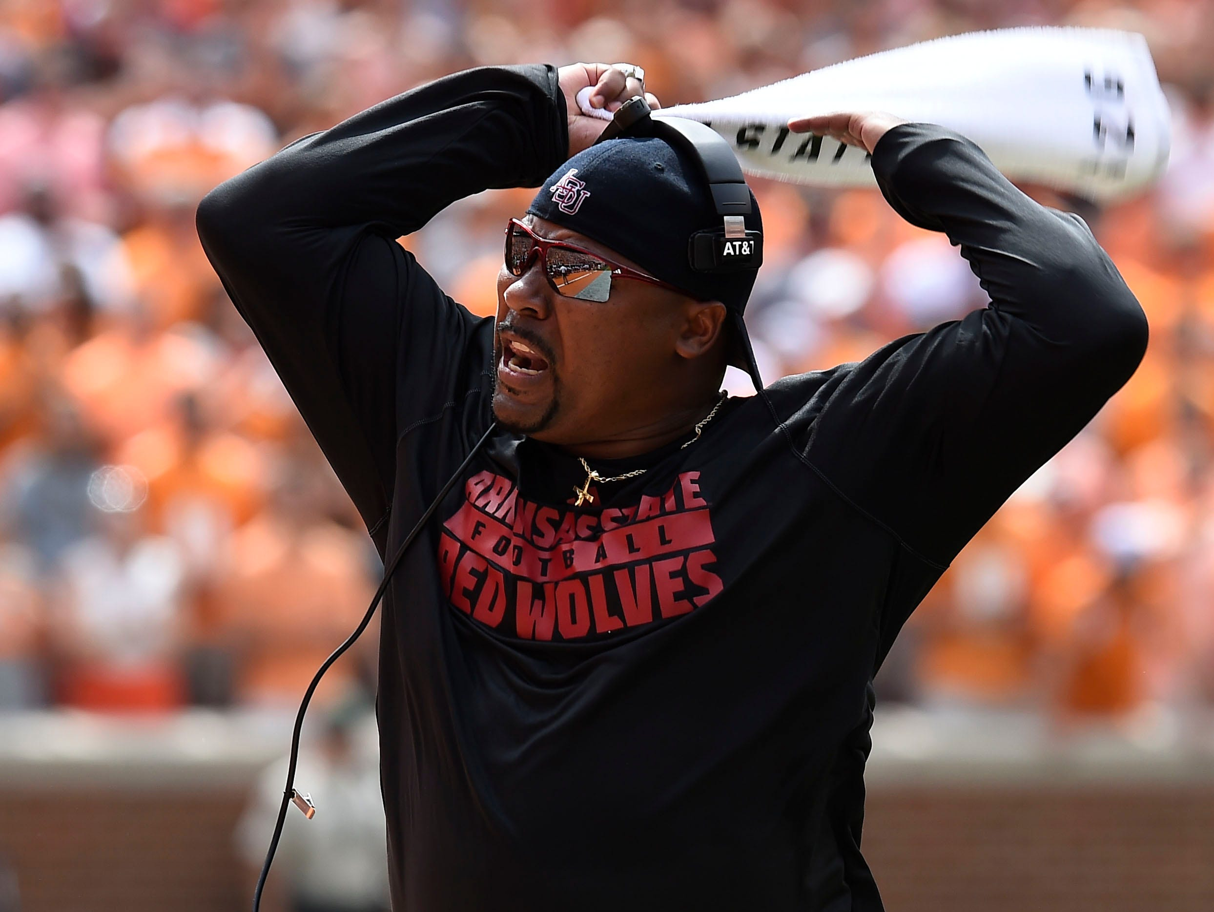 Former Tennessee assistant coach and current Arkansas State assistant coach Trooper Taylor motions to his players at Neyland Stadium, Saturday, Sept. 6, 2014 in Knoxville, Tenn.  (AMY SMOTHERMAN BURGESS/NEWS SENTINEL)