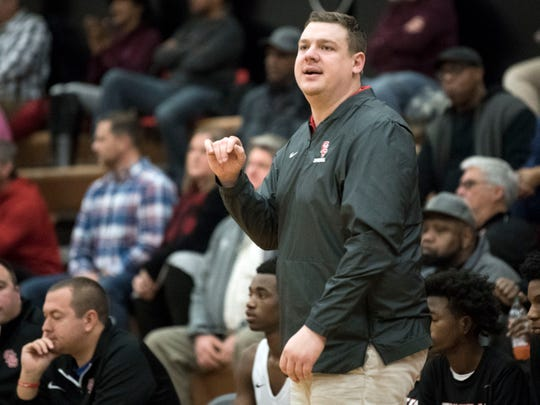 Central basketball coach Andy Hill during the game against Oak Ridge on Tuesday, January 15, 2019.
