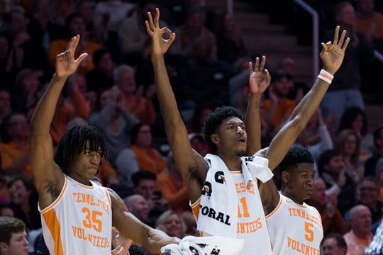 Tennessee's Yves Pons (35) Tennessee's Kyle Alexander (11) and Tennessee's Admiral Schofield (5) celebrate a three point shot during a NCAA men's basketball game between Tennessee and Arkansas at Thompson-Boling Arena Tuesday, Jan. 15, 2019. Tennessee defeated Arkansas 106-87.