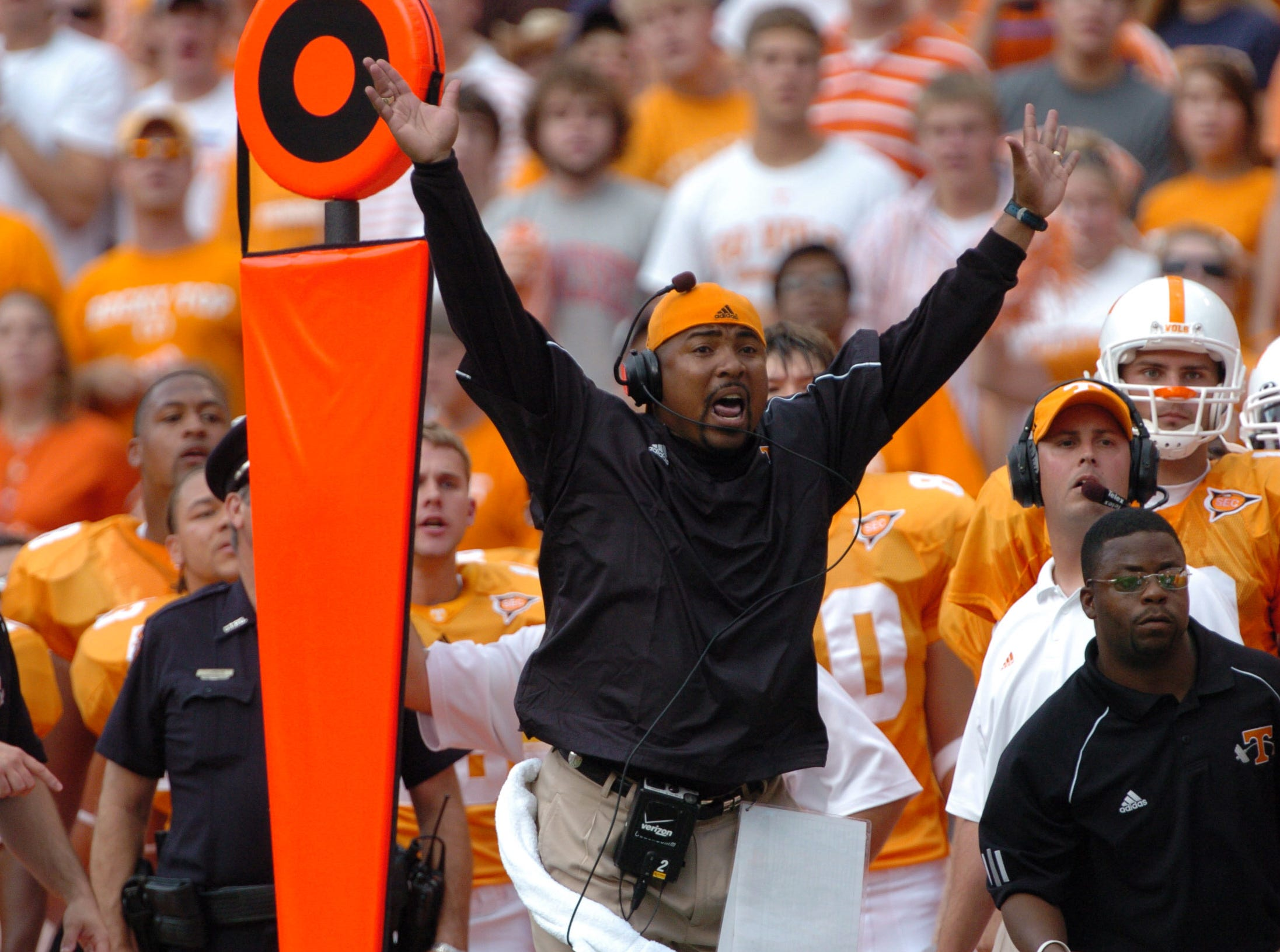 0902utcal.JA#6271.JPG-- Tennessee coach Trooper Taylor celebrates after a touchdown against California during the game on Saturday at Neyland Stadium.