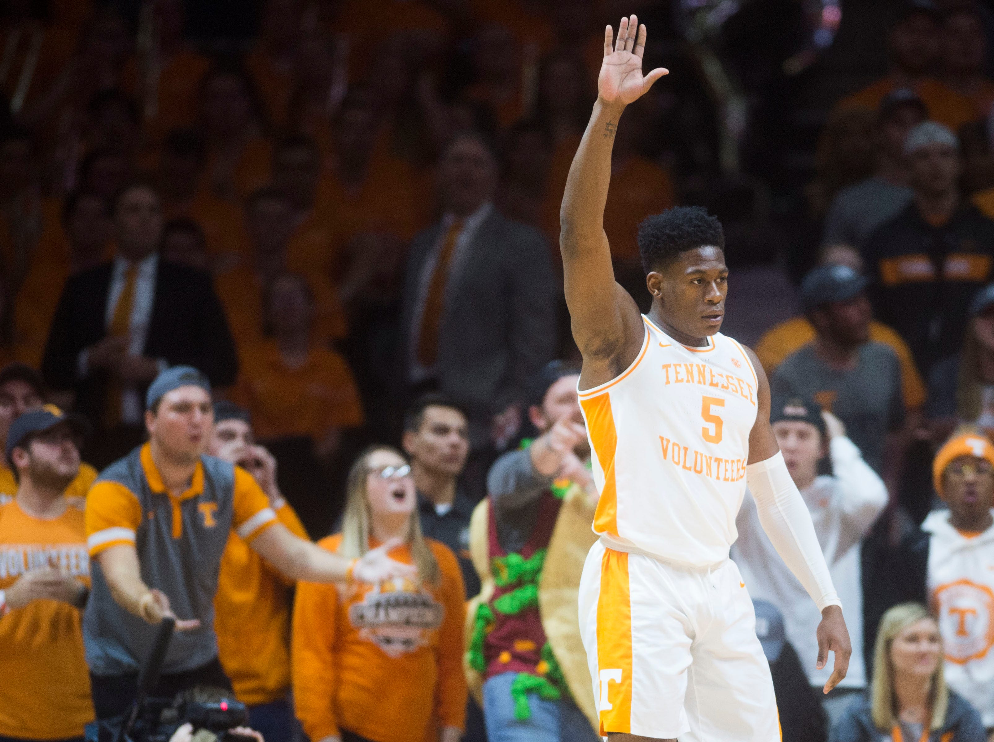 Tennessee's Admiral Schofield (5) disagrees with a call during a NCAA men's basketball game between Tennessee and Arkansas at Thompson-Boling Arena Tuesday, Jan. 15, 2019.