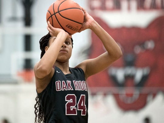 Oak Ridge's Jada Guinn (24) at the free-throw line in the game at Central on Tuesday, January 15, 2019.