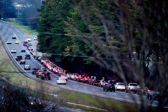The Hardin Valley Road exit on Pellissippi Parkway is backed up into the right hand shoulder during rush hour on Tuesday, January 15, 2019.