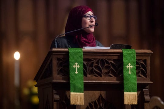 """Ustadha Zaynab Ansari of the Muslim Community of Knoxville speaks during the Dr. Martin Luther King Jr. Commemorative Commission's annual interfaith prayer service at Church Street United Methodist Church in downtown Knoxville on Jan. 16, 2019. This year's theme was """"The Courage to Lead with Greater Determination."""""""