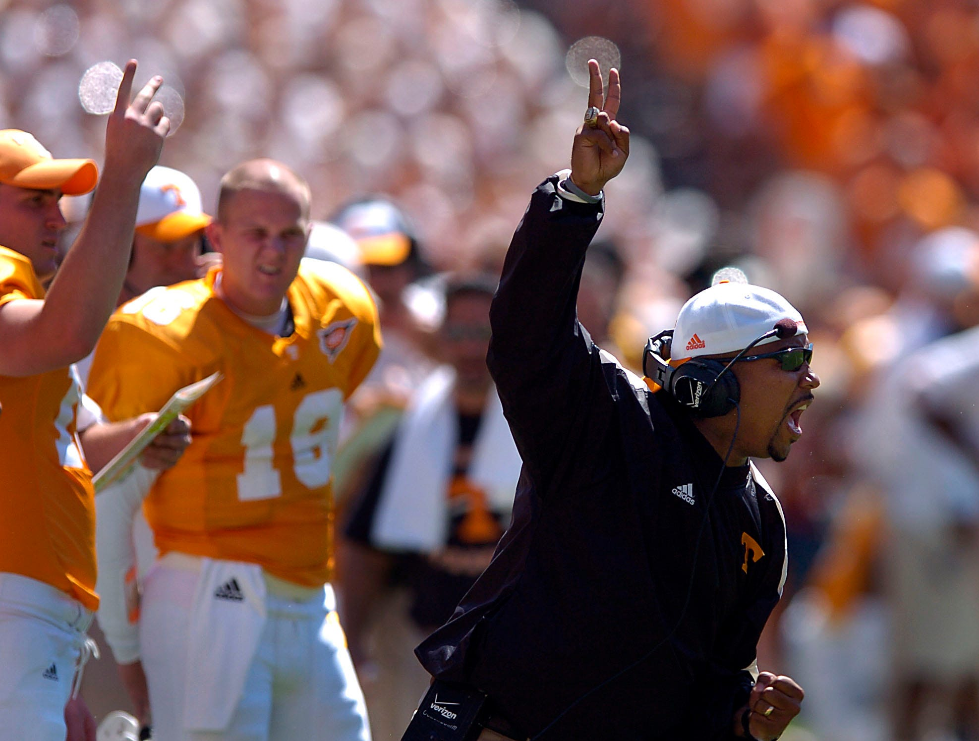 0903utuab5.MP#4246 -- SPORTS -- MICHAEL PATRICK/NEWS SENTINEL STAFF    Tennessee  running backs coach Trooper Taylor yells to his players during first half action in Neyland Stadium Saturday.  UT won the game 17-10.  9/3/2005