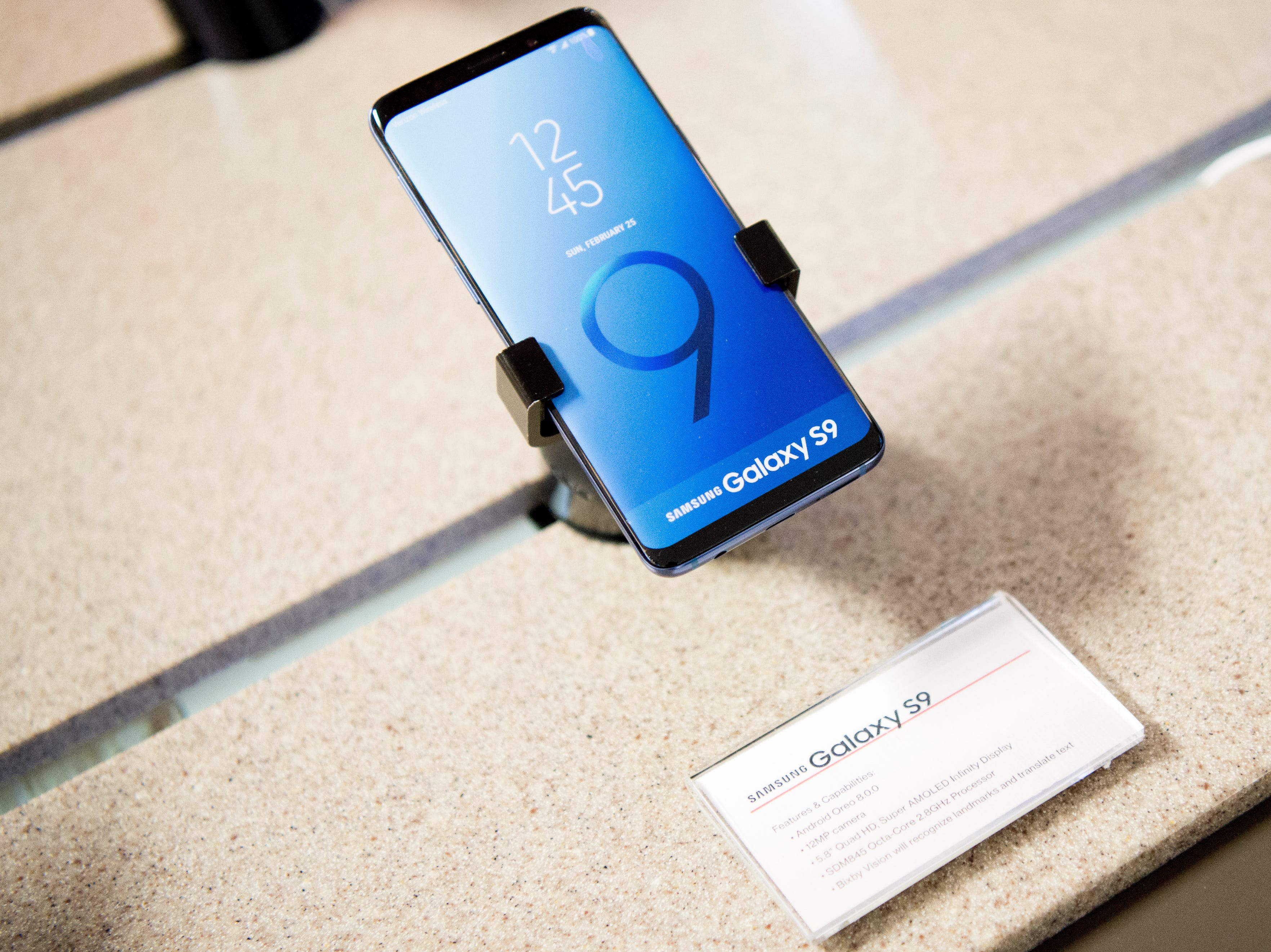 A Samsung Galaxy S9 cell phone is displayed in the mock setup of a Verizon Wireless retail store inside the Cellular Sales headquarters on 9040 Executive Park Drive in West Knoxville, Tennessee on Wednesday, January 16, 2019. An authorized agent of Verizon Wireless, Cellular Sales specializes in retail and support for over 700 of Verizon stores in 42 states.