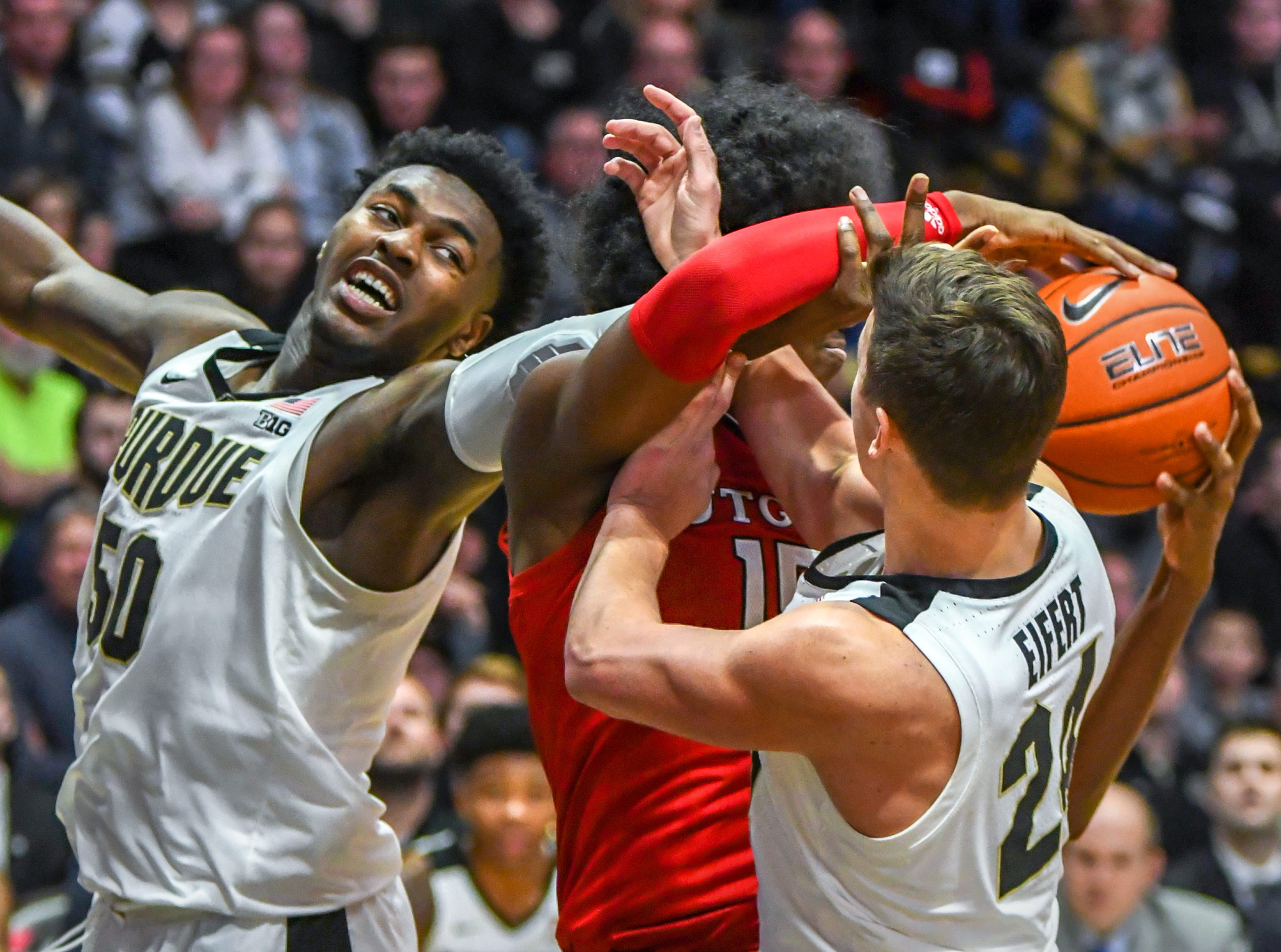 Action from Purdue's 89-54 win over Rutgers at Purdue University in West Lafayette on January 15, 2019. Trevion Williams and Grady Eifert