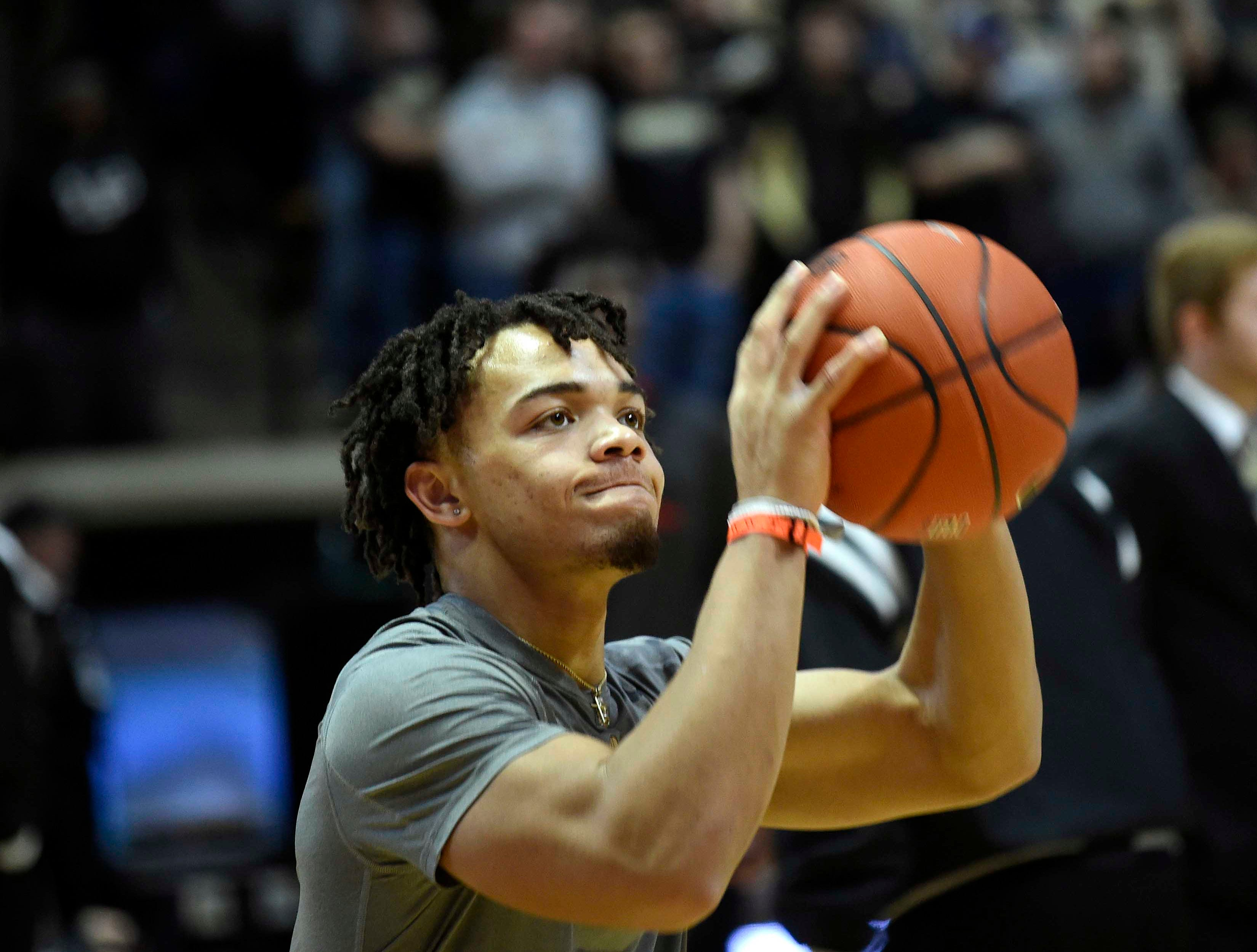Jan 15, 2019; West Lafayette, IN, USA; Purdue Boilermakers guard Carsen Edwards (3) before the game against the Rutgers Scarlet Knights  at Mackey Arena. Mandatory Credit: Sandra Dukes-USA TODAY Sports