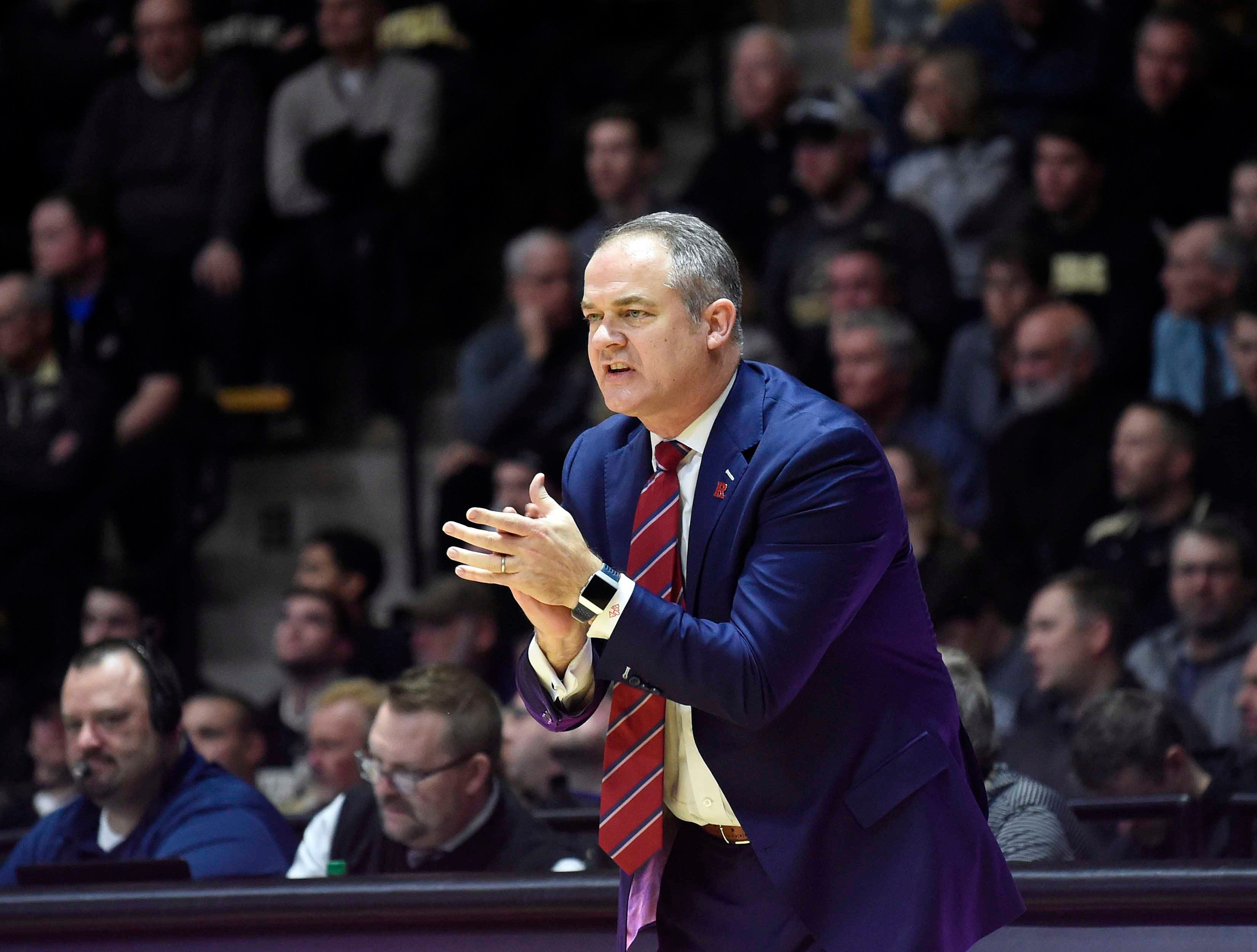 Jan 15, 2019; West Lafayette, IN, USA; Rutgers Scarlet Knights head coach Steve Pikiell in the first half  at Mackey Arena. Mandatory Credit: Sandra Dukes-USA TODAY Sports