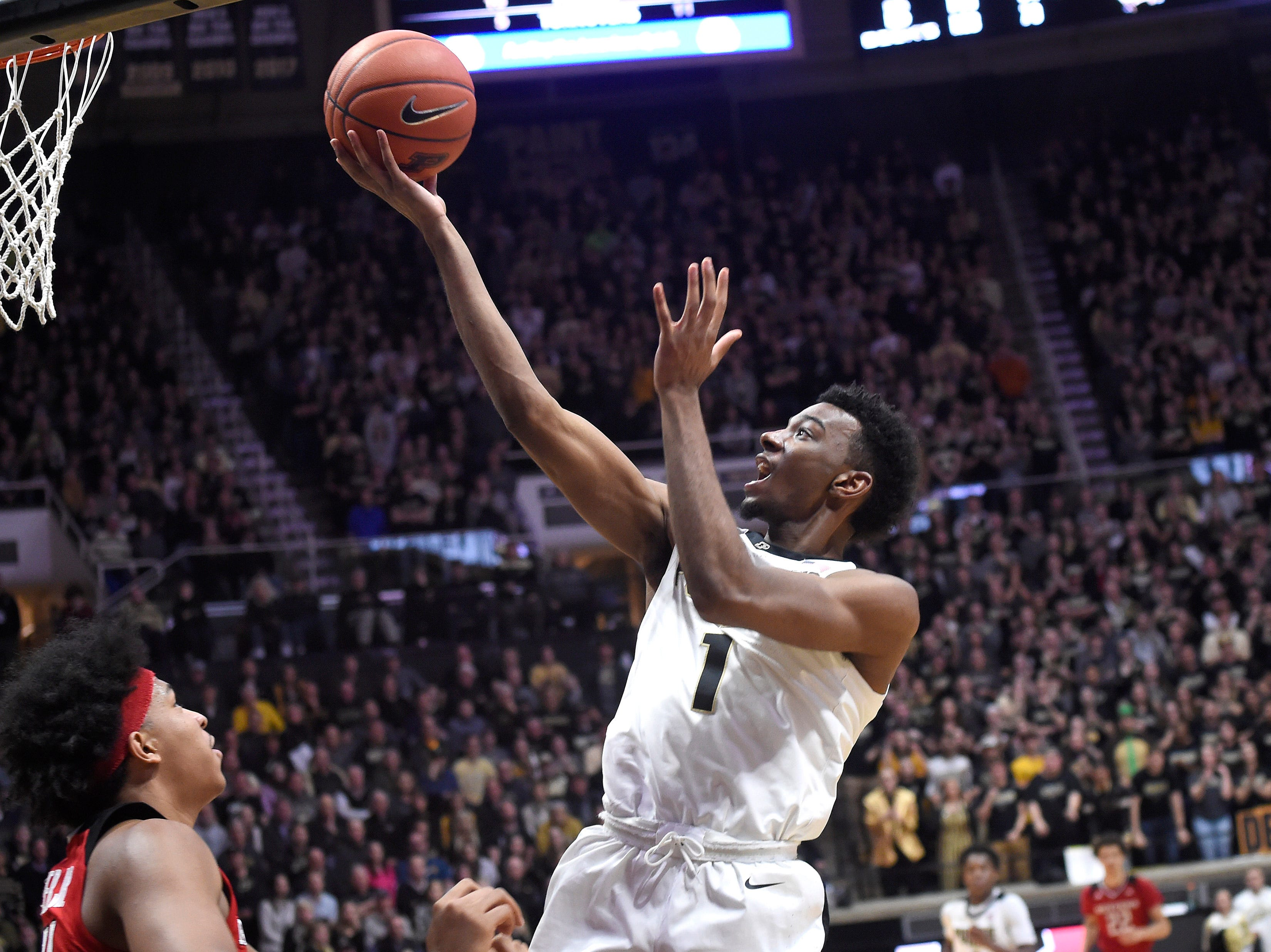 Jan 15, 2019; West Lafayette, IN, USA; Purdue Boilermakers forward Aaron Wheeler (1) goes up for a layup in the game against the Rutgers Scarlet Knights in the 2nd half at Mackey Arena. Mandatory Credit: Sandra Dukes-USA TODAY Sports