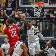 Action from Purdue's 89-54 win over Rutgers at Purdue University in West Lafayette on January 15, 2019. Trevion Williams