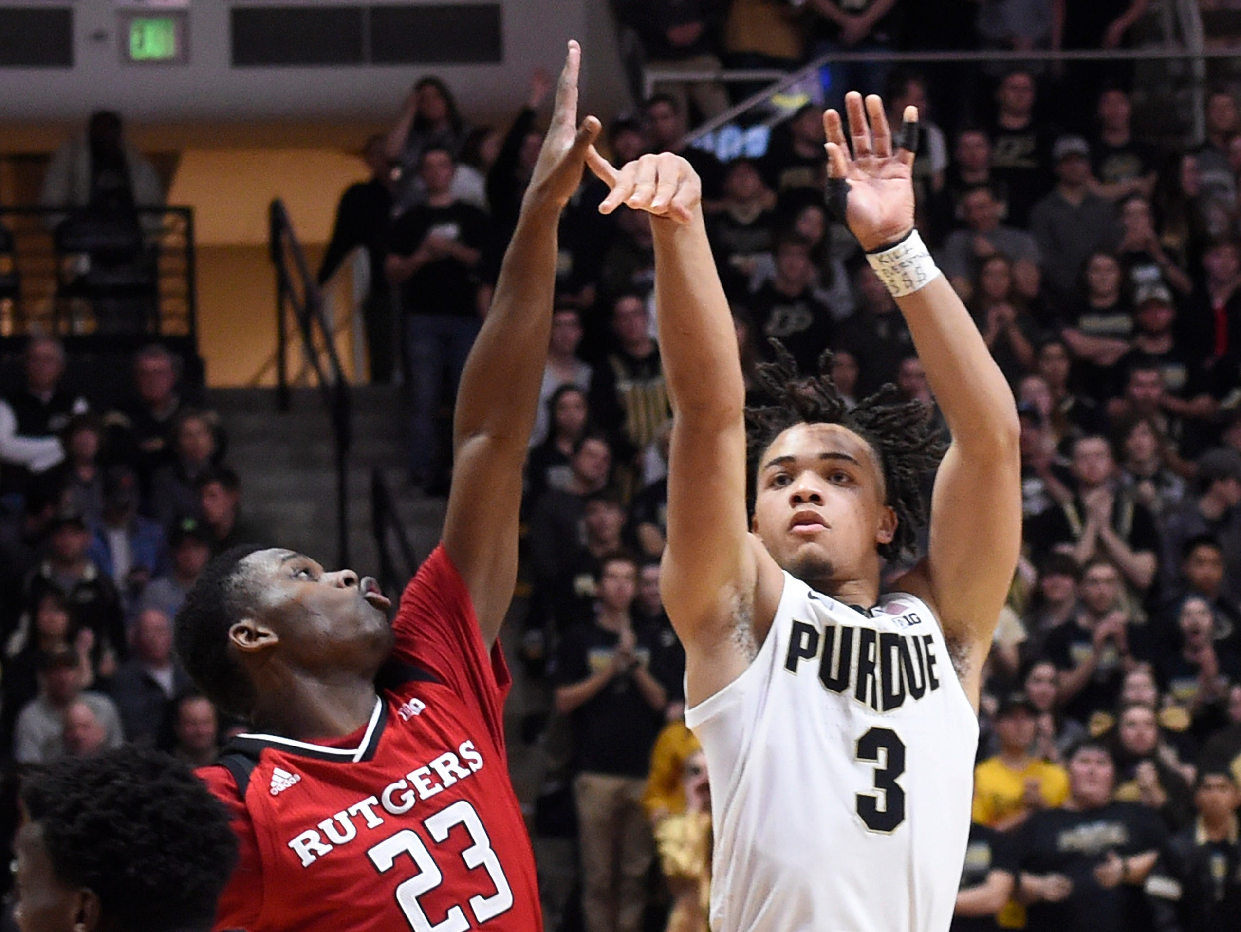 Jan 15, 2019; West Lafayette, IN, USA; Purdue Boilermakers guard Carsen Edwards (3) shoots over the outstretched arm of Rutgers Scarlet Knights guard Montez Mathis (23) in the 2nd half at Mackey Arena. Mandatory Credit: Sandra Dukes-USA TODAY Sports