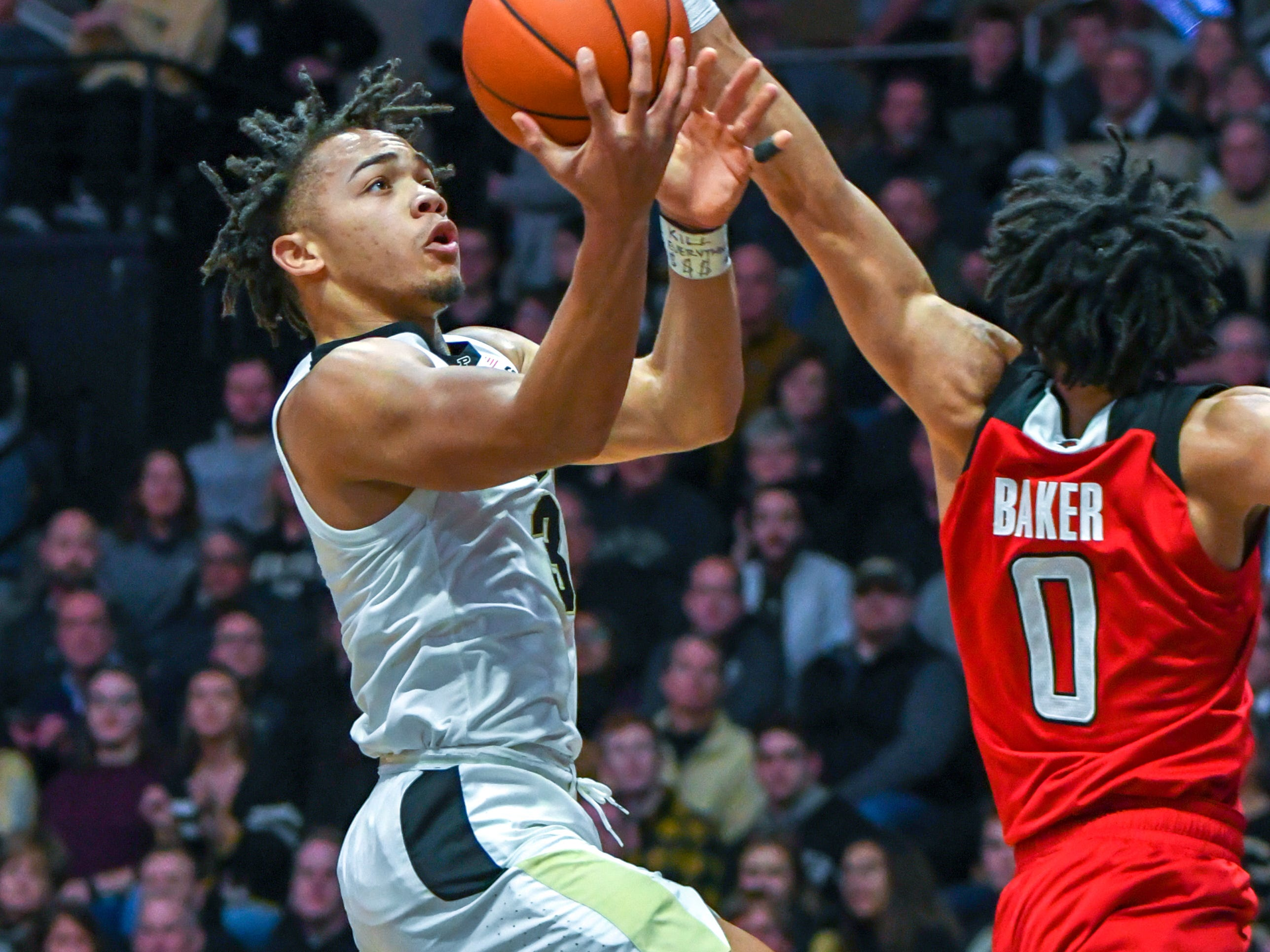 Action from Purdue's 89-54 win over Rutgers at Purdue University in West Lafayette on January 15, 2019. Carsen Edwards