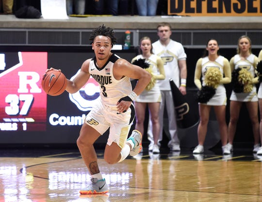 Jan 15, 2019; West Lafayette, IN, USA; Purdue Boilermakers guard Carsen Edwards (3) races up the court after a steal in the game against the Rutgers Scarlet Knights in the 2nd half at Mackey Arena. Mandatory Credit: Sandra Dukes-USA TODAY Sports