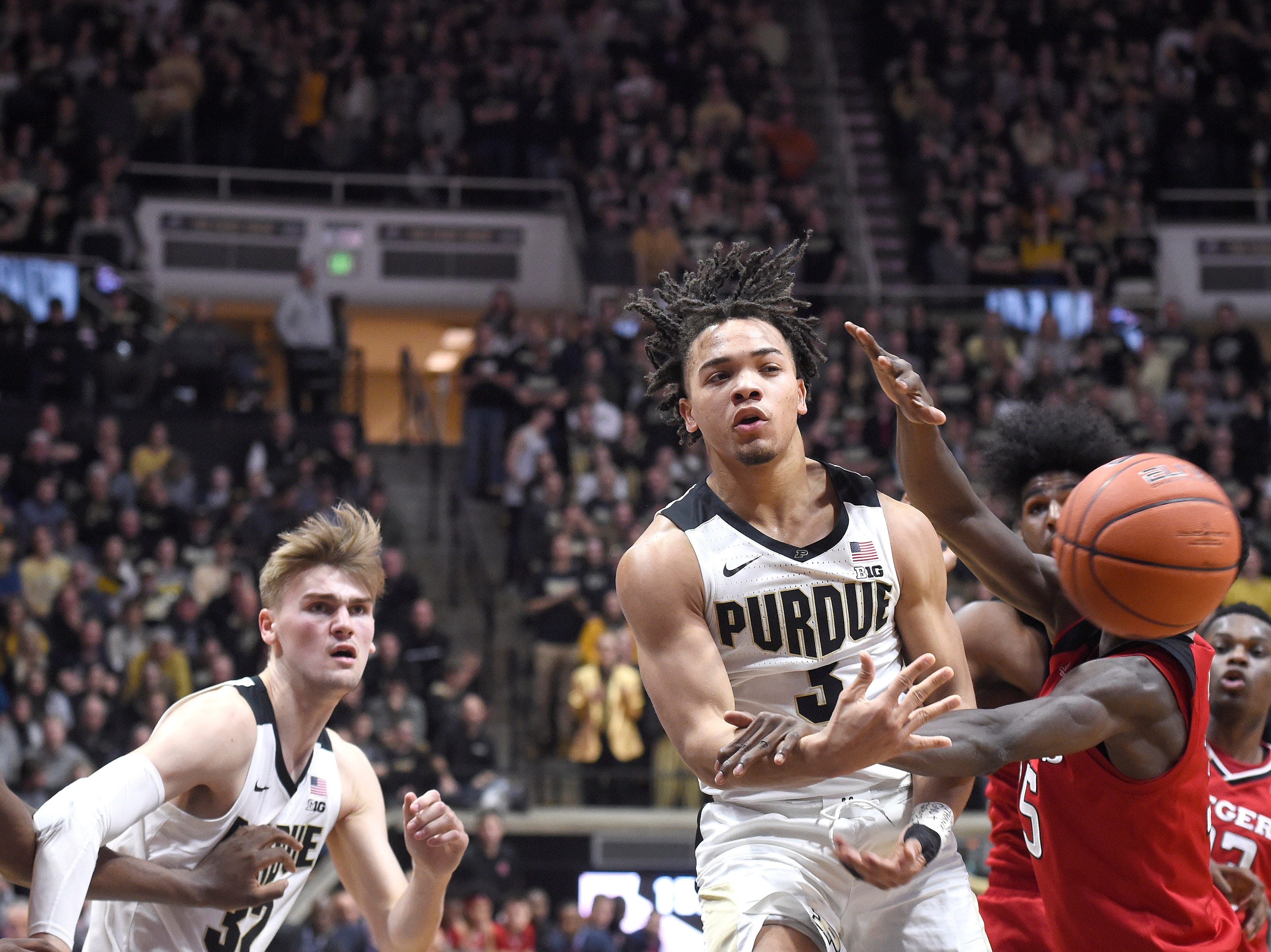 Jan 15, 2019; West Lafayette, IN, USA; Purdue Boilermakers guard Carsen Edwards (3) is fouled as he releases a pass in the 2nd half at Mackey Arena. Mandatory Credit: Sandra Dukes-USA TODAY Sports